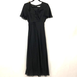 David Warren Black Flowy Maxi Dress, 10